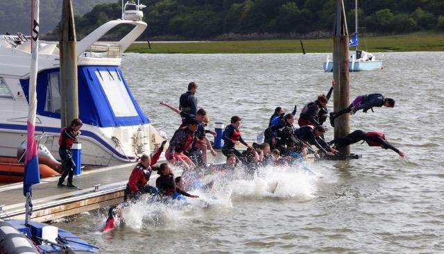Splashdown! The traditional end to Solway Yacht Club Cadet Week - photo © Ian Purkis