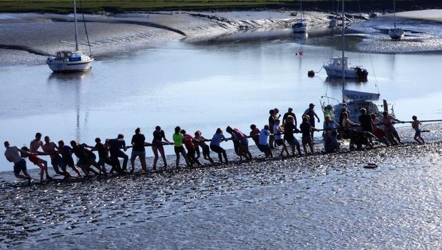 The winning team! Mudlarks Tug-o-War at Solway Yacht Club Cadet Week photo copyright Ian Purkis taken at Solway Yacht Club