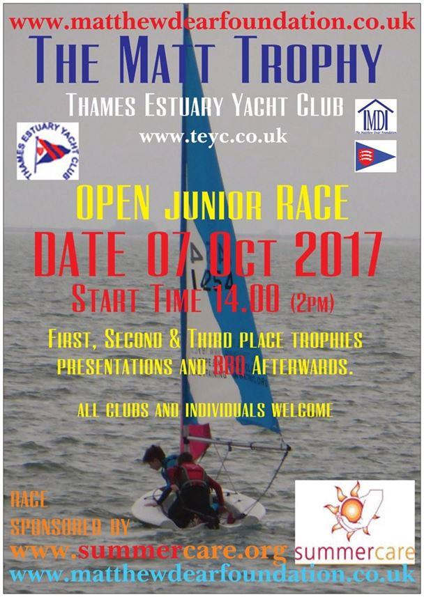 The Matt Trophy 2017 will be held on 7th October photo copyright Christopher Dear taken at Thames Estuary Yacht Club