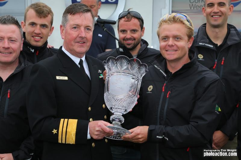 Cmdt. Barry Byrne receiving The Beaufort Cup at Volvo Cork Week 2016 from Vice Admiral of the Naval Services, Mark Mellett - photo © Tim Wright / www.photoaction.com
