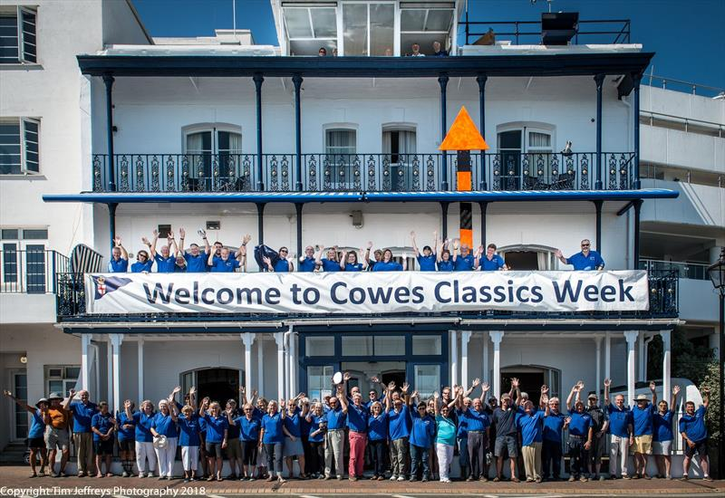 The Royal London Yacht Club's team welcomes the competitors on day 1 of Cowes Classics Week photo copyright Tim Jeffreys Photography taken at Royal London Yacht Club