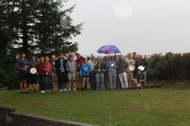 Soggy Sailors show off their trophies in the pouring rain at Solway YC Kippford Week - photo © Beatrice Overend
