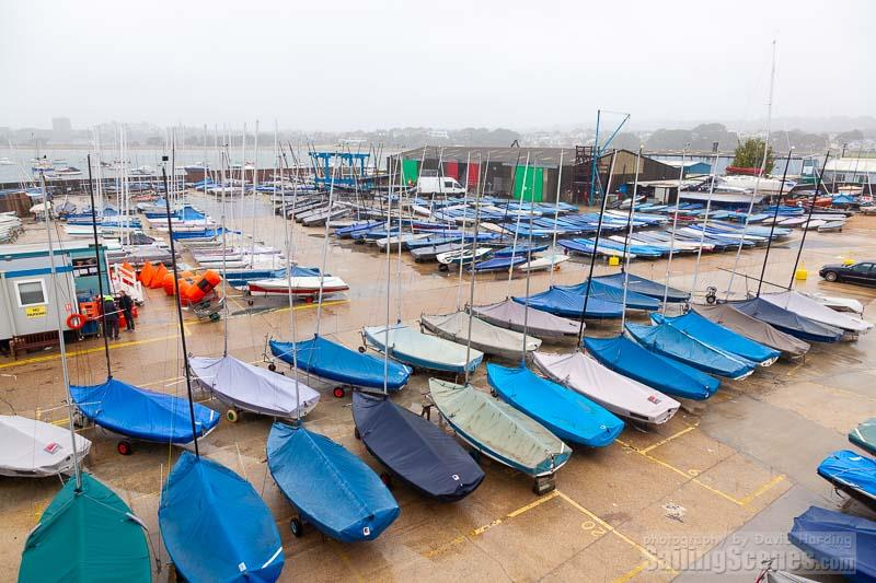 Rainy dinghy park on day 1 of Zhik Poole Week - photo © David Harding / www.sailingscenes.com