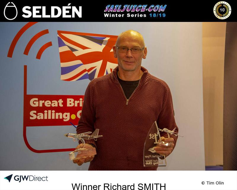 Richard Smith wins the Datchet Flyer - Selden SailJuice Winter Series Round 2 photo copyright Tim Olin / www.olinphoto.co.uk taken at Datchet Water Sailing Club