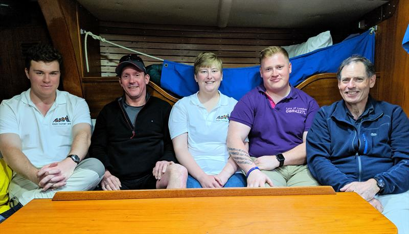 (l-r) Alex Ahmann, Marc Lonergan, Lottie Harland, Daryl Reis-Day & Phil Harland aboard Ausome-Lyra of London in St Katharine Docks Marina, London photo copyright Mark Jardine taken at