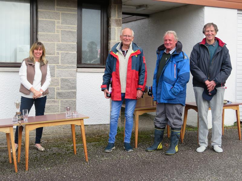 Mrs Brenda Moffat and the 'Kintra' winning crew, Stewart Monaghan (helm) with John Searle (crew / owner) and Richard Winters (crew) during the Catherinefield Windows RNLI Regatta in Kippford - photo © John Sproat