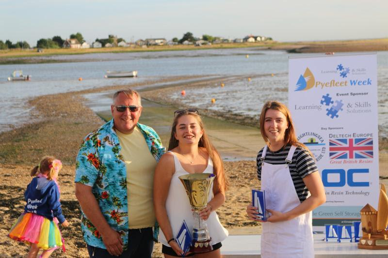 Mark White presents Rebecca Bines (c) and Connie Hughes (l) with the Big Wednesday Cadet Trophy at Learning & Skills Solutions Pyefleet Week - photo © William Stacey