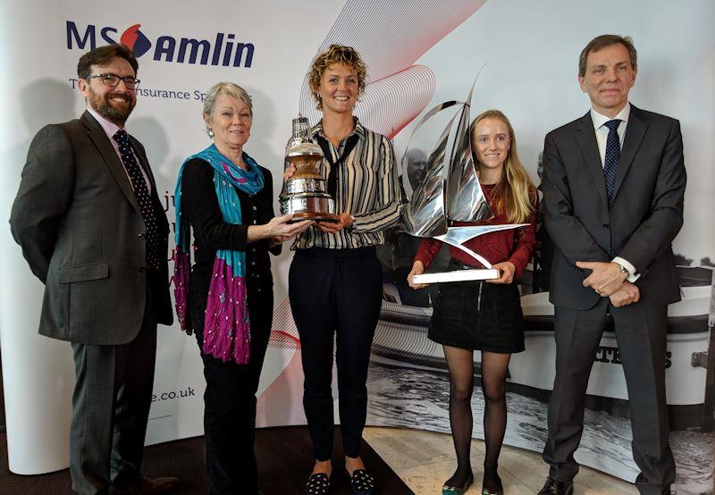 YJA Yachtsman and Young Sailor of the Year Awards 2018 (l-r) Paul Knox-Johnston, Tracy Edwards, Nikki Henderson, Emily Mueller & Cliff Webb - photo © Yachting Journalists' Association