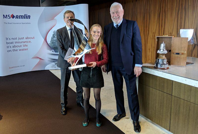 Emily Mueller is presented with the YJA Young Sailor of the Year Award 2018 by Sir Robin Knox-Johnston - photo © Yachting Journalists' Association