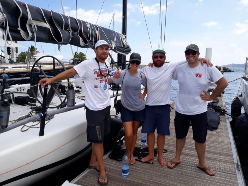 Crew Joseph Waites (2nd from R) claims White Rhino 2  `one fast ride!` - BVI Spring Regatta - photo © Michelle Slade / BVISR