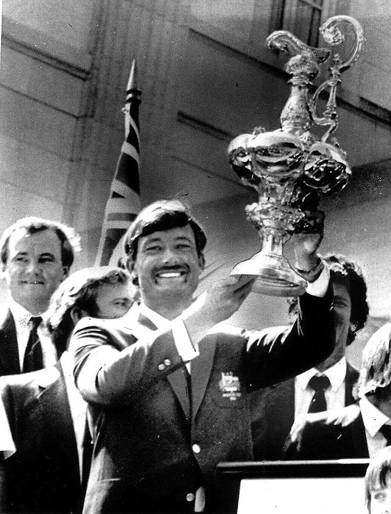 Hoisting the Auld Mug aloft after winning the 1983 America's Cup - photo © Event Media