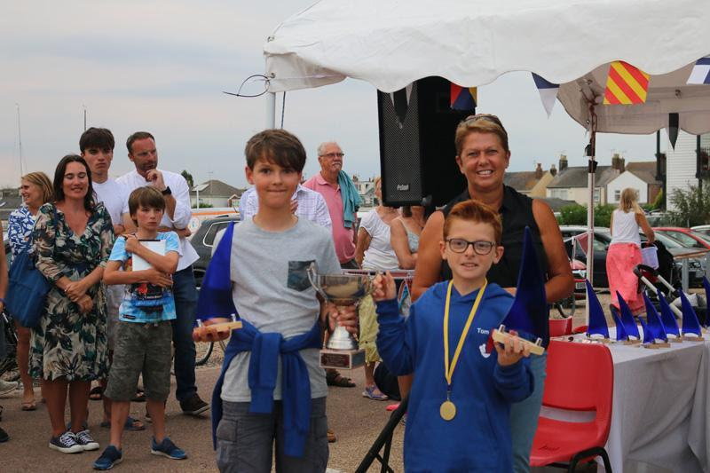 Cadet Handicap winners Oscar Oldfield and Tom Philips receive their prizes from Sue Bouckley of Learning & Skills Solutions - photo © James Stacey