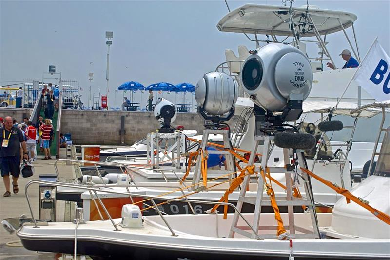 TV camera boats - Olympic Sailing Regatta - Qingdao - photo © Richard Gladwell