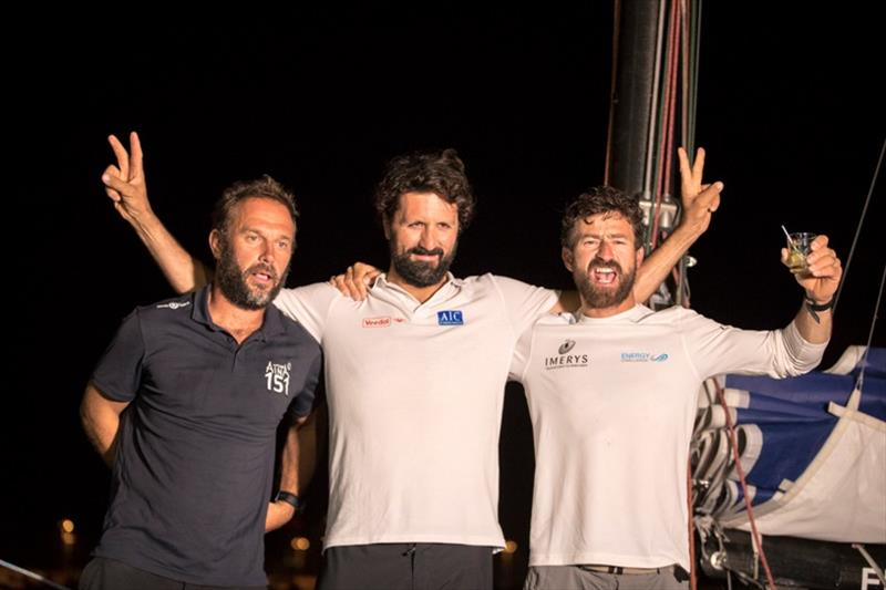 Phil Sharp with Class40 competitors, Yoann Richomme (1st) and Aymeric Chapellier (2nd) - Route du Rhum-Destination Guadeloupe - photo © Alexis Courcoux