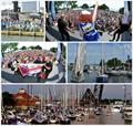 Top row: fans on shore, Awards Party; Middle: class winner on stage, parade to the start; Bottom: Boat Night on the Black River - Bell's Beer Bayview Mackinac Race 2019 © Martin Chumiecki / Bayview Yacht Club