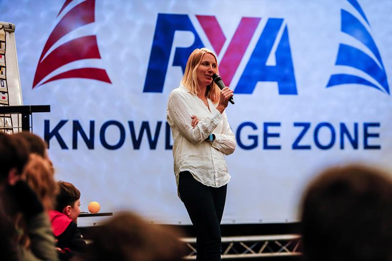 Saskia Clark speaking in the Knowledge Zone at the RYA Dinghy Show 2018 - photo © Royal Yachting Association