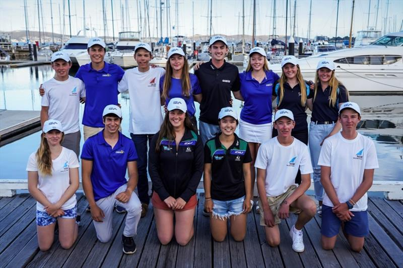 Provisional members of the Australian team for the Youth Worlds line up this evening at the Royal Yacht Club of Tasmania - Day 4, Australian Sailing Youth Championships 2019 - photo © Beau Outteridge