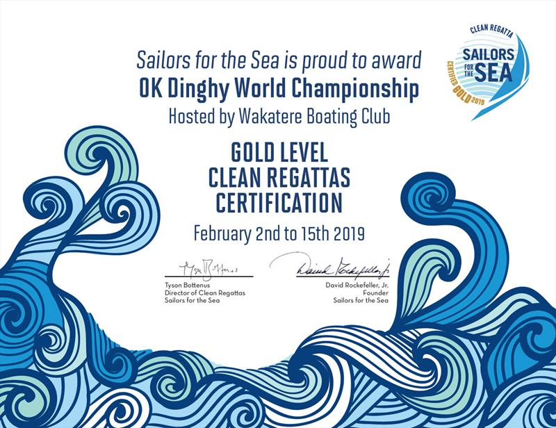 The OK Dinghy World Championship achieved Gold Level Clean Regatta Certification from Sailors for the Sea - 2019 Symonite OK Dinghy World Championship - photo © Robert Deaves