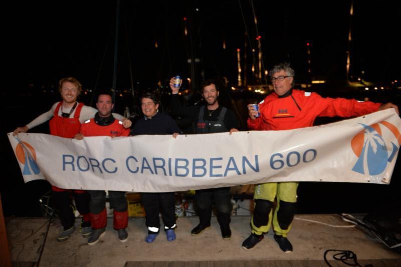 Catherine Pourre and team on Class40 Eärendil: Eärendil Crew: Catherine Pourre, Massimo Juris, Pietro Luciani, Pablo Santurde, Carlos Ruigomez - 2019 RORC Caribbean 600 - photo © Ted Martin / RORC