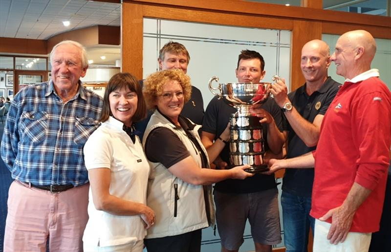 Commodore Tracy Matthews and defending skipper Nick Rogers hand over the Sayonara Cup to the winning Royal Sydney Yacht Squadron team. photo copyright Penny Conacher taken at