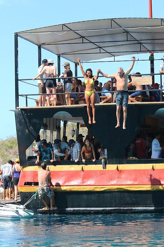 Making the most of their time away from the sailing, crews enjoy fun times at Willy T's - BVI Spring Regatta 2019 - photo © Ingrid Abery / www.ingridabery.com