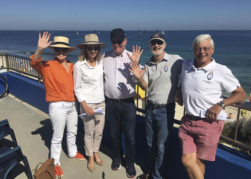 Commodore Gary McNally in the centre, watching the offshore racing in North Cottesloe with friends. - photo © Royal Freshwater Bay Yacht Club
