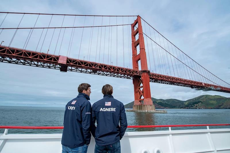 Rome Kirby and Mac Agnese looking out over San Francisco Bay, where they will be racing May 4-5.  photo copyright SailGP taken at