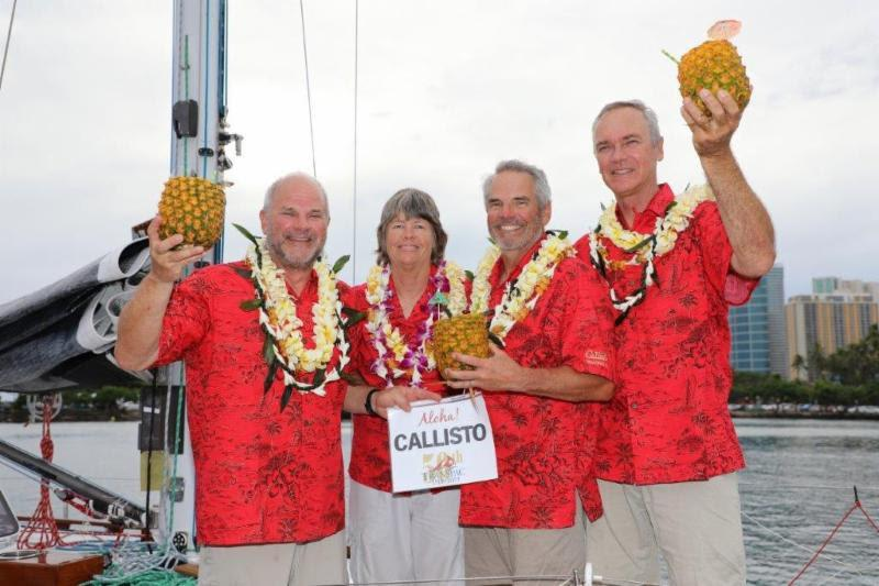 All smiles on Callisto on arrival to Transpac Row - Transpac 50 - photo © David Livingstone