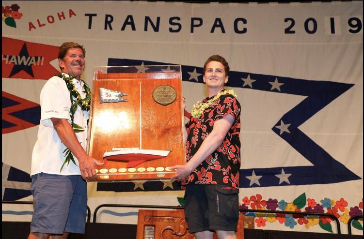 James Cooney receiving the Don Vaughn Award for most valuable crew member on the Barn Door-winning yacht - Transpac 50 - photo © David Livingston