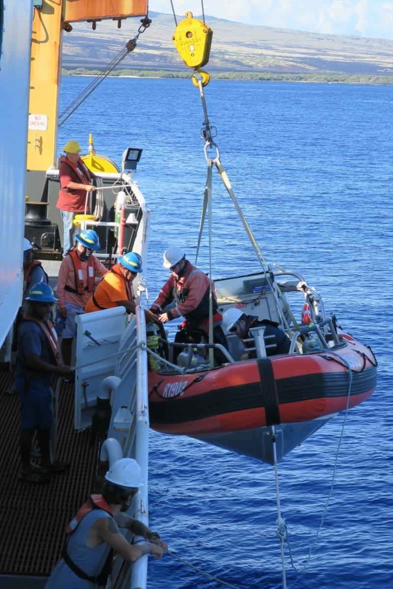It takes coordination from a lot of people to get our survey work done. Here, the deck crew tends lines as the crew, scientists, and dive chamber operators load one of the small boats. Everyone pitches in to make sure our mission is a success! - photo © NOAA Fisheries / Kaylyn McCoy