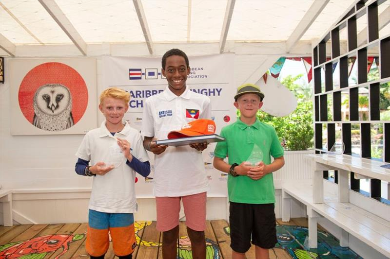 Optimist winner Ozani Lafond with 2nd placed Patrick Greensmith and 3rd placed - 2019 Caribbean Dinghy Championships - photo © Ted Martin / Antigua Photography
