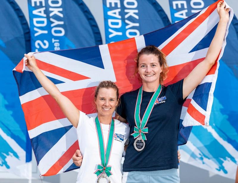 Hannah Mills and crew Eilidh McIntyre took silver in the Women's 470 - Ready Steady Tokyo, day 6 - photo © Pedro Martinez / Sailing Energy / World Sailing