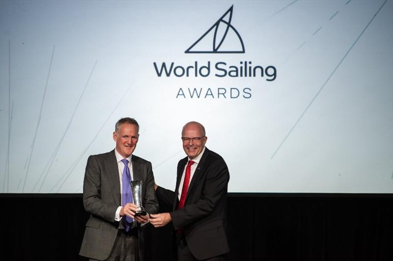 Oman Sail CEO David Graham receiving the World Sailing Presidential Development Award from World Sailing President Kim Andersen - photo © Oman Sail