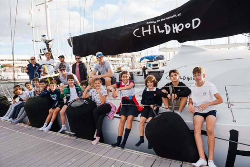 Sailing school children from Arrecife's RCNA enjoyed a tour of Volvo 65 Childhood I, who are promoting the World Childhood Foundation for the protection of children worldwide - photo © RORC