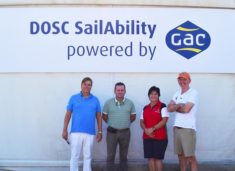 (L-R) Bengt Ekstrand, GAC Group President; Jacky Gerault, DOSC's General Manager; Kathryn Saxton, DOSC Sailability Lead Coordinator and Chairman; and Stuart Bowie, GAC Group Vice President, Commercial photo copyright GAC taken at Dubai Offshore Sailing Club