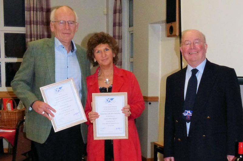 Stuart Monaghan, JoAnn Monaghan and Robert Dinwiddie - Solway YC 2019 prize-giving - photo © Becky Davison