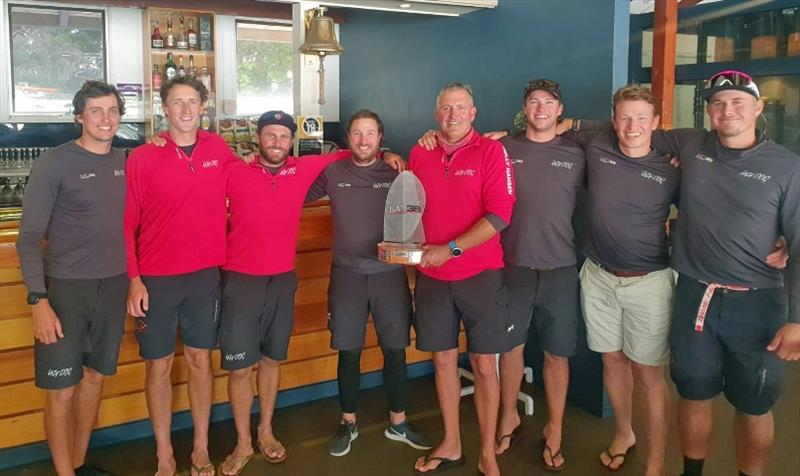 Winning crew of Lazy Dog - MC38 2020 Australian Championship photo copyright Tilly Lock Media taken at Middle Harbour Yacht Club