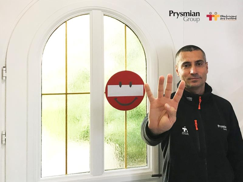 Giancarlo with the no entry sign at the exit of his house photo copyright Prysmian taken at