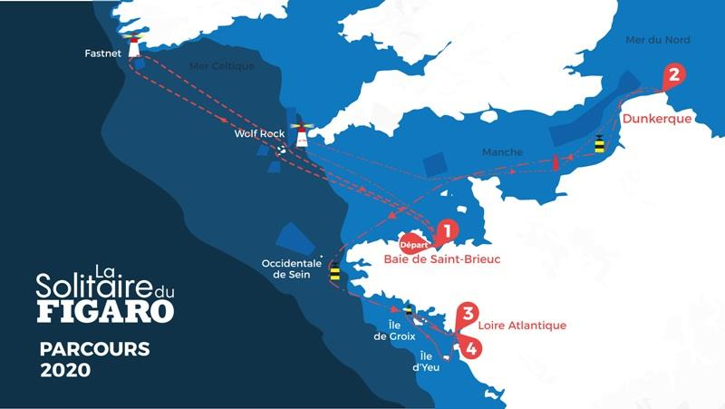 2019 Solitaire du Figaro map - photo © Alexis Courcoux