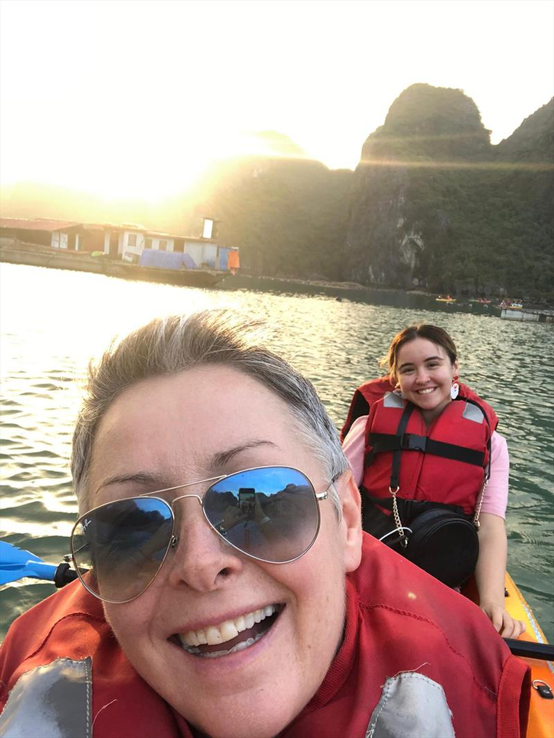 Terri and daughter Nicole paddle the sights of Ha Long Bay - photo © Terri Fisher