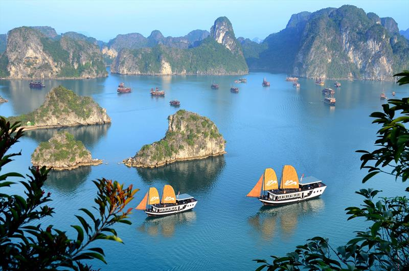 One of the many luxury boats that will take you on a tour of stunning Ha Long Bay - photo © Clipper Race