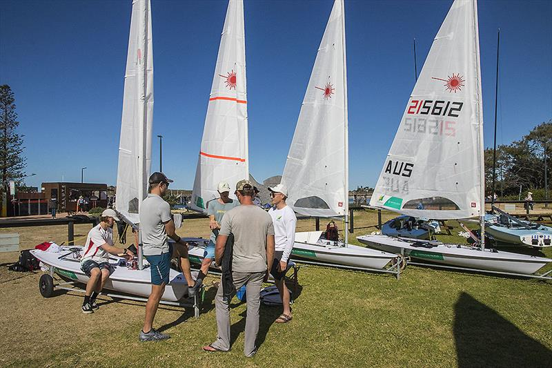Pre-training, sailors only briefing for the AST Laser Squad at the Coffs Harbour Yacht Club - photo © John Curnow