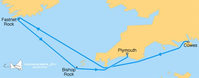 The historic 595nm course starts from Cowes IOW, around Lands' End, across the Celtic Sea, around the Fastnet Lighthouse off the coast of Ireland, and finishing at the Plymouth Breakwater.  photo copyright PowerPlay Racing taken at