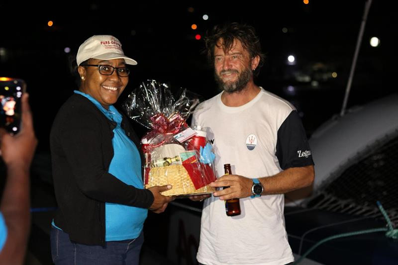 Giovanni Soldini and Maserati Multi 70 crew receives a warm welcome from the Grenada Tourism Authority photo copyright RORC / Andrew Richards taken at Royal Ocean Racing Club and featuring the MOD70 class