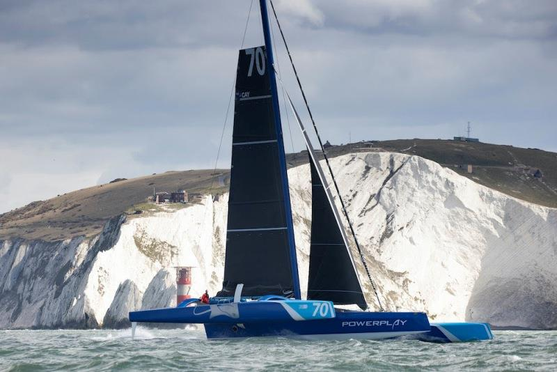 MOD70 PowerPlay racing team skippered by Peter Cunningham and Ned Collier, shown here as they started their Fastnet Course world record attempt. - photo © Lloyd Images