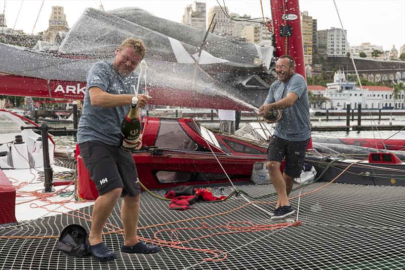 Lalou Roucayrol and Alex Pella, in Arkema, smash record to win Transat Jacques Vabre, Multi50 class - photo © Jean-Marie Liot / ALeA / TJV17