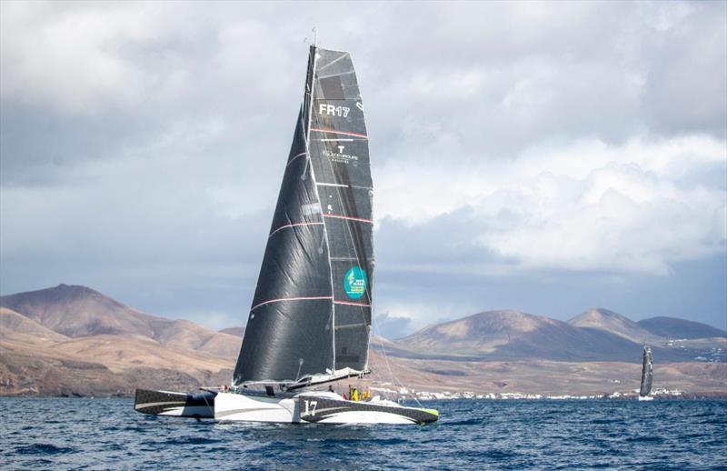 Start of the 2021 RORC Transatlantic Race from Puerto Calero, Lanzarote - Oren Nataf's Multi50 Trimaran Rayon Vert, skippered by Alex Pella - photo © James Mitchell / RORC