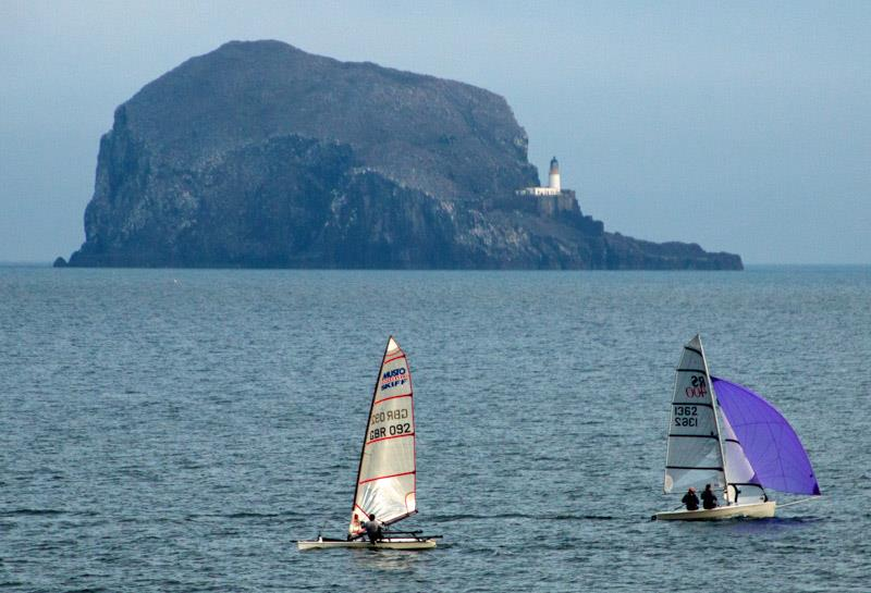 Icebreaker Trophy racing with the Bass Rock in the background photo copyright Alan Thomson taken at East Lothian Yacht Club and featuring the Musto Skiff class