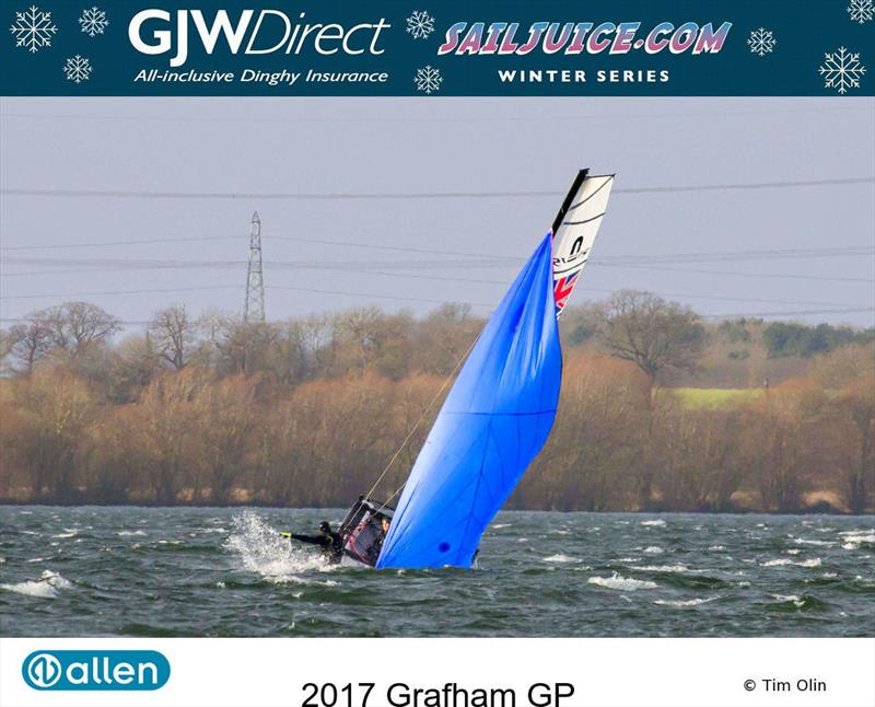 Down the mine during the GJW Direct Sailjuice Winter Series Grafham Grand Prix photo copyright Tim Olin / www.olinphoto.co.uk taken at Grafham Water Sailing Club and featuring the Nacra 15 class