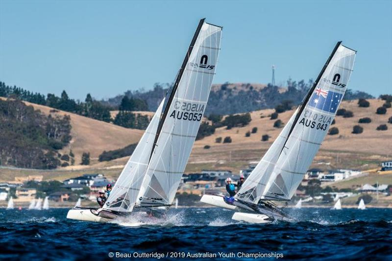 Nacra 15 fleet - Day 1, 2019 Australian Sailing Youth Championships photo copyright Beau Outteridge / 2019 Australian Youth Championships taken at Royal Yacht Club of Tasmania and featuring the Nacra 15 class